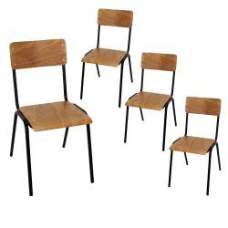 KULO - Lot de 4 Chaises Style Ecolier Marron et Noir