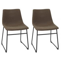SANDY - Lot de 2 Chaises Coutures Apparentes Marron