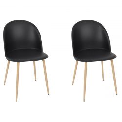 MADDY - Lot de 2 Chaises Scandinaves Noires