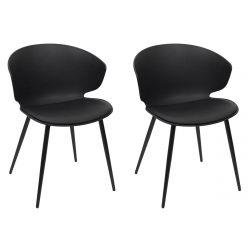 ZENN - Lot de 2 Chaises Coque Rembourrée Noire