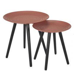 KAPI - Tables Gigognes Ocre Rouge Motif Pois en Relief