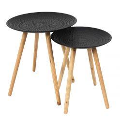KAPI - Tables Gigognes Noires Motif Pois en Relief