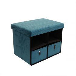 FLOY - Banc Pliable Velours Bleu Canard Avec Tiroirs