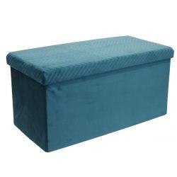 FLOY - Coffre Banc Pliable Velours Bleu Canard
