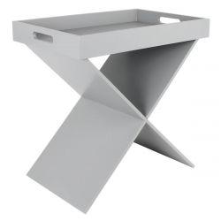PRAK - Table d'Appoint Grise Plateau Amovible