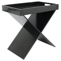 PRAK - Table d'Appoint Noire Plateau Amovible