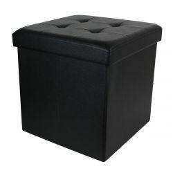 RONNIE - Pouf-Coffre Pliable Capitonné Simili Cuir Noir