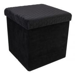 HONEY - Pouf-Coffre Pliable Velours Noir Motif Ruche