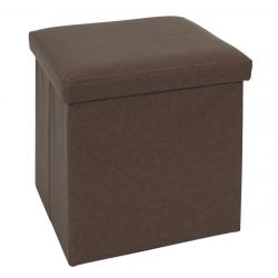 HODIA - Coffre Pouf Pliable Simili Cuir Marron