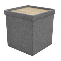 POOJA - Pouf-Coffre Table Pliable Velours Gris