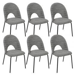 HONY - Lot de 6 Chaises Blanches et Noires Effet Moucheté
