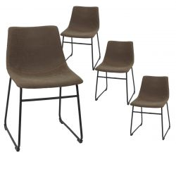 SANDY - Lot de 4 Chaises Coutures Apparentes Marron