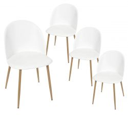 MADDY - Lot de 4 Chaises Scandinaves Blanches