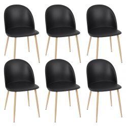 MADDY - Lot de 6 Chaises Scandinaves Noires