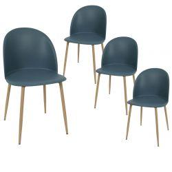 MADDY - Lot de 4 Chaises Scandinaves Bleu Canard