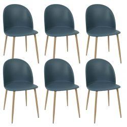 MADDY - Lot de 6 Chaises Scandinaves Bleu Canard