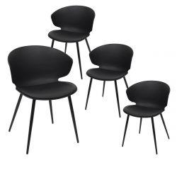 ZENN - Lot de 4 Chaises Coque Rembourrée Noire