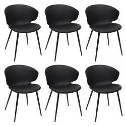 ZENN - Lot de 6 Chaises Coque Rembourrée Noire