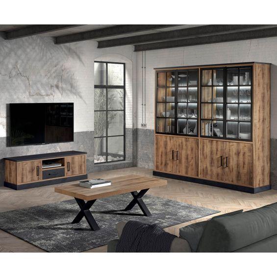 JENNA - Ensemble Table Basse + Meuble TV + Bibliothèque 8 Portes