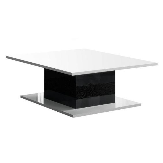 COLUMBUS - Table Basse Laquée Brillanc Blanc et Noir