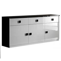 COLUMBUS - Buffet 3 Portes 3 Tiroirs Laqué Brillant Noir et Blanc