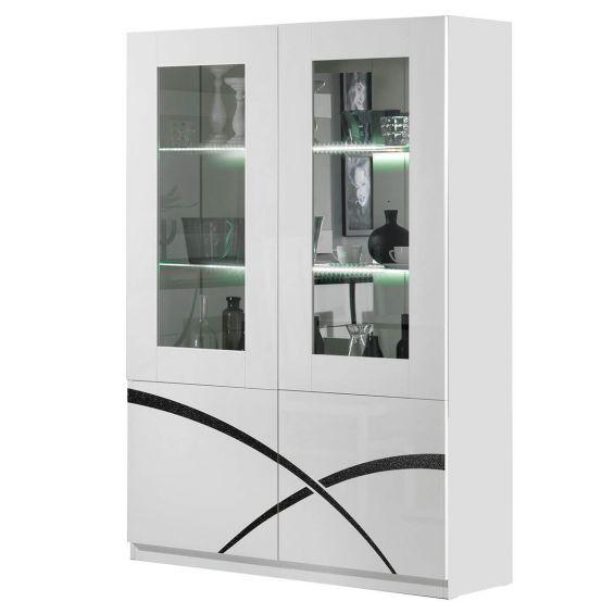 ALYSSA - Vitrine 2 Portes Laquée Brillant Blanc