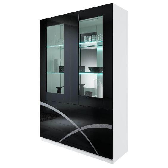 ALYSSA - Vitrine 2 Portes Laquée Brillant Blanc et Noir