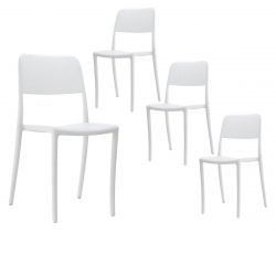 RAMONA - Lot de 4 Chaises Blanches Intérieur ou Extérieur
