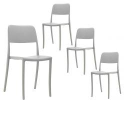 RAMONA - Lot de 4 Chaises Grises Intérieur ou Extérieur