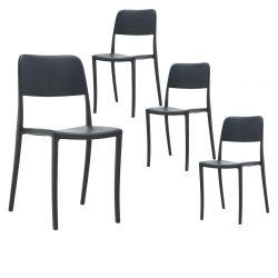 RAMONA - Lot de 4 Chaises Noirs Intérieur ou Extérieur
