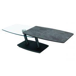 STURI - Table Basse Plateaux Arrondis Verre et Céramique