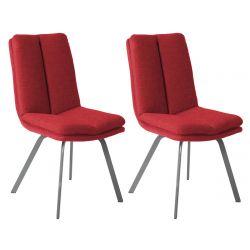 CALLAM - Lot de 2 Chaises Rouges avec Sur-Coussin