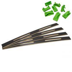 ALTOZONE - Lot de 4 Lattes Epaule 68cm + 8 Embouts Verts