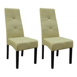 DALLAS - Lot de 2 Chaises Vert Clair Capitonnées