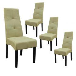 DALLAS - Lot de 4 Chaises Vert Clair Capitonnées