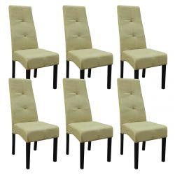 DALLAS - Lot de 6 Chaises Vert Clair Capitonnées