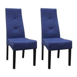 DALLAS - Lot de 2 Chaises Bleu Nuit Capitonnées