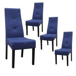 DALLAS - Lot de 4 Chaises Bleu Nuit Capitonnées