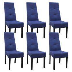 DALLAS - Lot de 6 Chaises Bleu Nuit Capitonnées