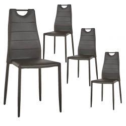 TASS - Lot de 4 Chaises Simili Cuir Noir avec Poignée Métal