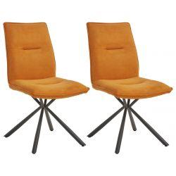 JULIANE - Lot de 2 Chaises Tissu Orange Piètement Etoile