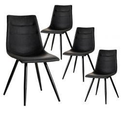 KORA - Lot de 4 Chaises Simili Cuir Noir