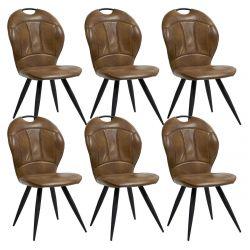 CLARK - Lot de 6 Chaises Matelassées Simili Cuir Camel
