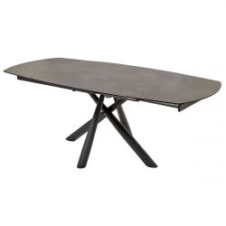 MANOLA - Table Allongeable Céramique Gris Marronné