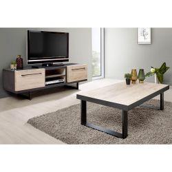 JULIANE - Ensemble Table Basse + Meuble TV Bois et Anthracite