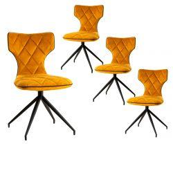 STYK - Lot de 4 Chaises Tissu Curry Surpiqures Carreaux