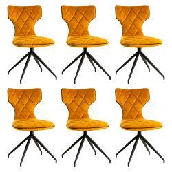 STYK - Lot de 6 Chaises Tissu Curry Surpiqures Carreaux