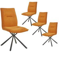 JULIANE - Lot de 4 Chaises Tissu Orange Piètement Etoile