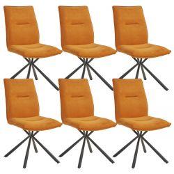 JULIANE - Lot de 6 Chaises Tissu Orange Piètement Etoile