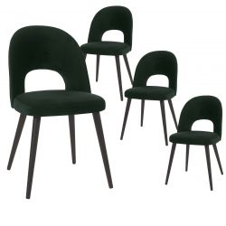 BISCA - Lot de 4 Chaises Tissu Vert Foncé Dossier Ajouré